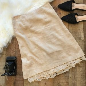 Rebecca Taylor Linen Silk Blend Skirt Lace Cream